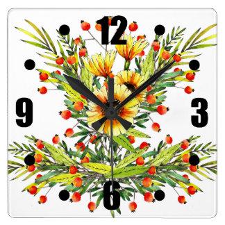 Relógio Quadrado Design floral da aguarela dos girassóis e das