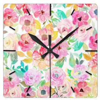 Relógio Quadrado Design floral elegante da pintura da mão da
