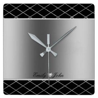 Relógio Quadrado Design geométrico de cinzas pretas e de prata