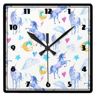 Relógio Quadrado Design mágico da fantasia da aguarela do teste