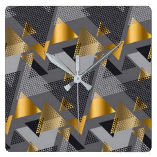Relógio Quadrado Design preto do teste padrão do abstrato da prata