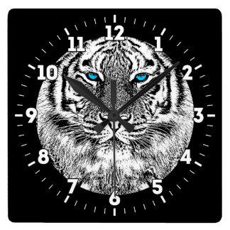Relógio Quadrado Design preto e branco do tigre dos olhos azuis em