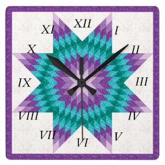 Relógio Quadrado Design solitário roxo da edredão da estrela