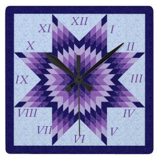 Relógio Quadrado Design solitário roxo e azul da edredão da estrela