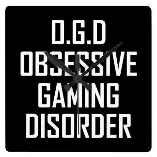 Relógio Quadrado Desordem obsessiva do jogo