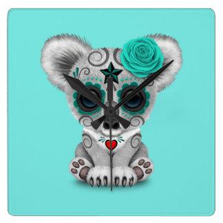 Relógio Quadrado Dia azul do Koala inoperante do bebê