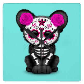 Relógio Quadrado Dia cor-de-rosa da pantera preta inoperante Cub