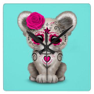 Relógio Quadrado Dia cor-de-rosa do leão Cub inoperante