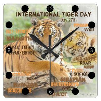 Relógio Quadrado Dia internacional do tigre, o 29 de julho, arte da