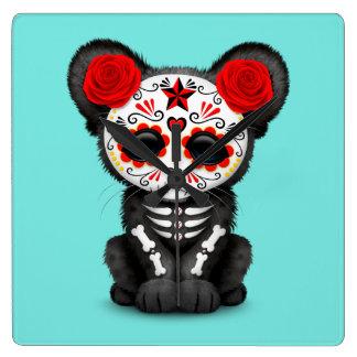 Relógio Quadrado Dia vermelho da pantera preta inoperante Cub