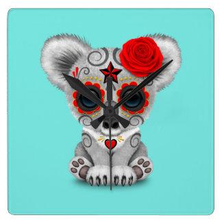 Relógio Quadrado Dia vermelho do Koala inoperante do bebê