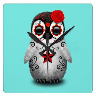 Relógio Quadrado Dia vermelho do pinguim inoperante do bebê
