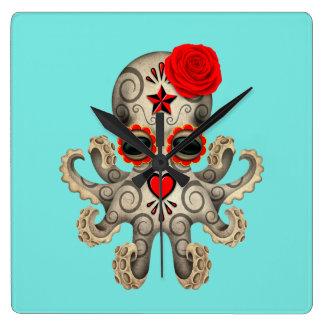 Relógio Quadrado Dia vermelho do polvo inoperante do bebê
