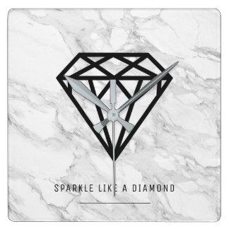 Relógio Quadrado Diamante com mármore