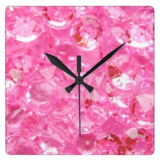 Relógio Quadrado Diamantes cor-de-rosa
