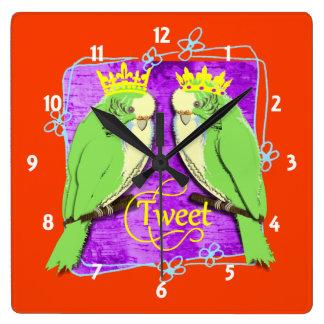 Relógio Quadrado Divertimento verde irrisório bonito do Tweet de