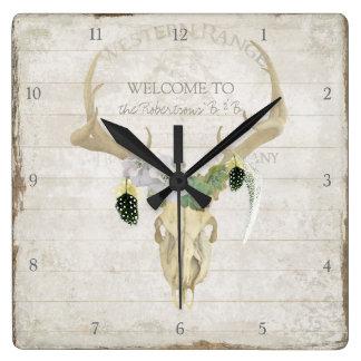 Relógio Quadrado Do Antler boémio dos cervos de Boho arte ocidental