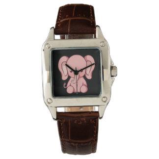 Relógio quadrado do couro do Brown das mulheres