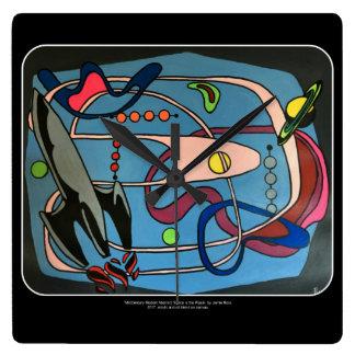 """Relógio Quadrado Do """"o espaço da modificação MidCentury é pintura"""