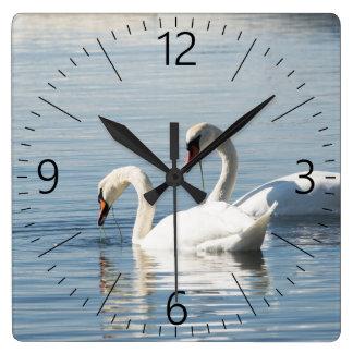Relógio Quadrado Duas cisnes