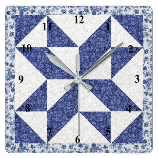 Relógio Quadrado Edredão azul e branca do falso da chita