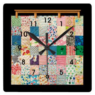 Relógio Quadrado Edredão de retalhos do vintage