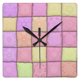 Relógio Quadrado edredão pastel 1 (I)