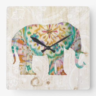 Relógio Quadrado Elefante de Boho Paisley mim