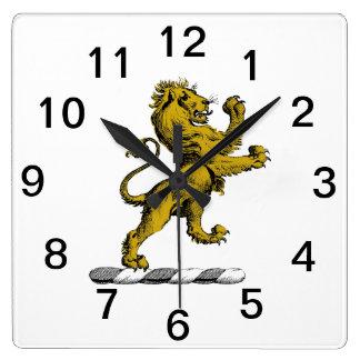 Relógio Quadrado Emblema ereto C da crista do leão heráldico