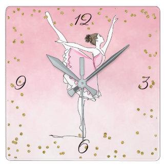 Relógio Quadrado Encanto cor-de-rosa bonito Ombre da bailarina