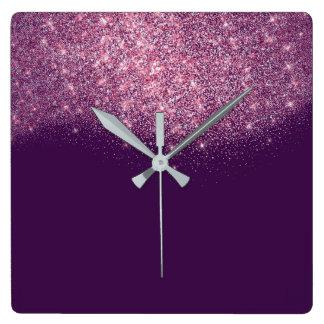 Relógio Quadrado Encanto violeta roxo do rosa do rosa dos confetes