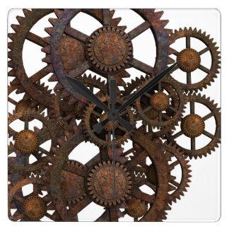 Relógio Quadrado Engrenagens oxidadas do metal de Steampunk