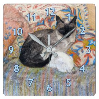 Relógio Quadrado Esboço do gato e do gatinho