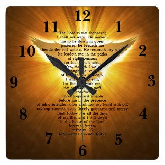 Relógio Quadrado Escritura da bíblia do rei James Versão Salmo 23