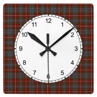Relógio Quadrado Escuro - Fraser vermelho e azul do Tartan de Lovat