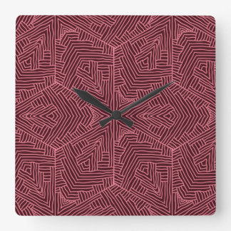 Relógio Quadrado Escuro - pulso de disparo de parede vermelho