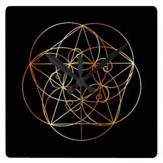 Relógio Quadrado Espiral de Fibonacci a geometria sagrado