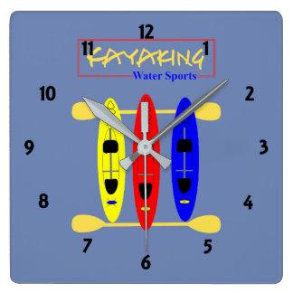 Relógio Quadrado Esportes de água Kayaking - gráfico temático