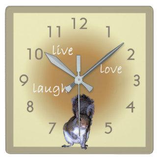 Relógio Quadrado Esquilo - vivo - amor - riso
