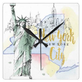 Relógio Quadrado Estado de estátua da liberdade de New York  