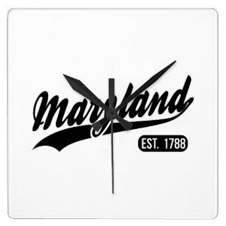 Relógio Quadrado Estado de Maryland