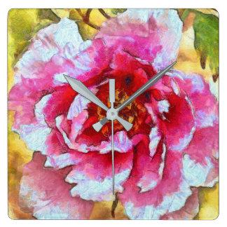 Relógio Quadrado Estilo cor-de-rosa de Van Gogh da peônia