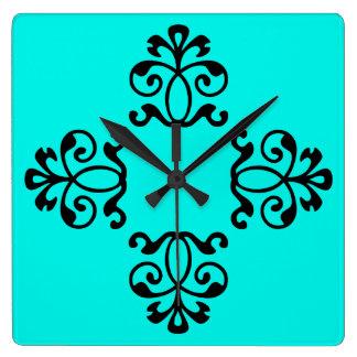 Relógio Quadrado Estilo floral listrado do vintage do Aqua