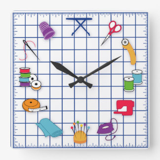 Relógio Quadrado Estofe e Sew o tempo