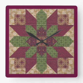 Relógio Quadrado Estrela verde acolchoada de Borgonha