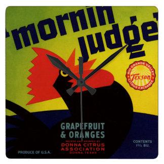 Relógio Quadrado Etiqueta alaranjada da caixa do juiz da manhã