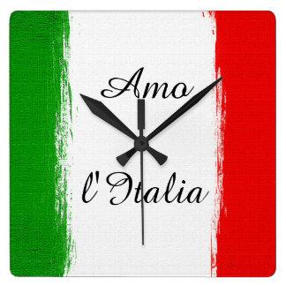 Relógio Quadrado Eu amo a bandeira de Italia de Italia. Texto