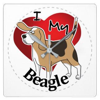 Relógio Quadrado Eu amo meu cão feliz & adorável engraçado bonito