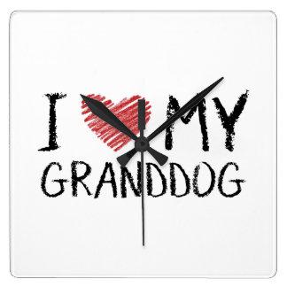 Relógio Quadrado Eu amo meu Granddog
