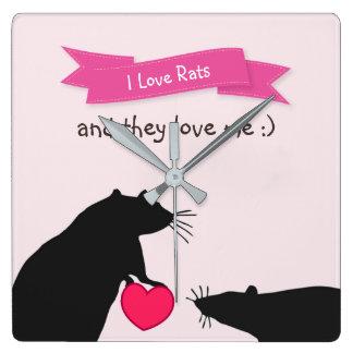 Relógio Quadrado Eu amo ratos e amam-me